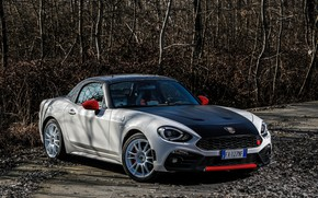 Picture foliage, Roadster, spider, black and white, Abarth, 124 Spider, 2019, Rally Tribute