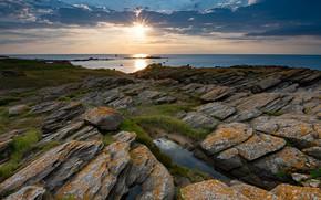 Picture sea, clouds, sunset, stones, coast