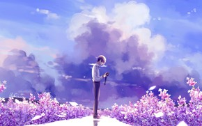 Picture nature, anime, art, the camera, guy, lluluchwan