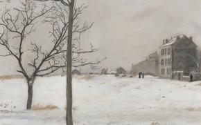 Picture picture, the urban landscape, Jean-Francois Raffaelli, Montmartre under the Snow, Jean-François Raffaëlli