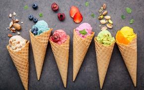 Wallpaper berries, colorful, ice cream, fruit, nuts, horn, fruit, berries, ice cream, cone
