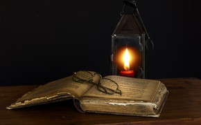 Picture GLASSES, LAMP, CANDLE, BOOK