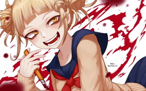 Picture girl, smile, blood, knife, My Hero Academia, Boku No Hero Academy, My Hero Academy