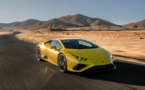 Picture ROAD, SAND, MOVEMENT, YELLOW, SPEED, Lamborghini Huracan Evo