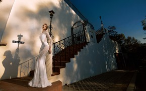 Picture girl, house, model, dress, stage, the bride, fashion