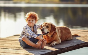 Picture water, nature, animal, dog, barefoot, boy, red, friends, curls, child, ginger, dog, mostok, barefoot, boy, …