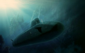 Picture boat, art, Dreadnought, underwater, atomic