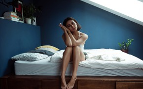 Picture look, pose, model, shorts, portrait, pillow, makeup, Mike, brunette, hairstyle, bed, legs, sitting, on the …