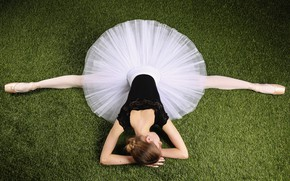 Picture grass, girl, ballerina, twine