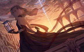 Picture Sunset, Girl, The city, Hourglass, Art, A beam of light, Fate / Grand Order, The …