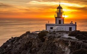 Picture sea, landscape, sunset, nature, rock, lighthouse, Greece, Akrotiri Beach