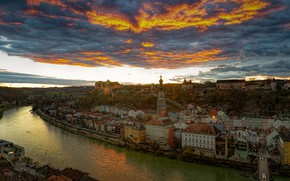 Picture the sky, clouds, sunset, river, building, home, Germany, panorama, Germany, Salzach River, Burghausen, Burghausen, Upper …