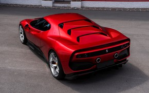 Picture red, Ferrari, rear view, 2018, SP38