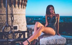 Picture girl, pose, feet, shorts, Marco Squassina, Ilenia Luzzara