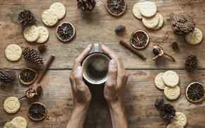 Picture autumn, coffee, hands, cookies, Cup, cinnamon, bumps, chestnut