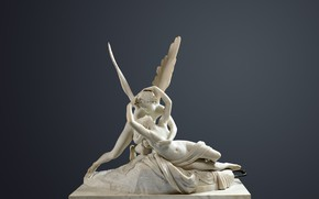 Picture girl, wings, hugs, sculpture, Museum, art, the young man, mythology, Antonio Canova, Cupid and psyche