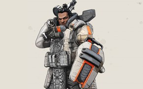 Picture look, the game, man, grey background, character, Apex Legends