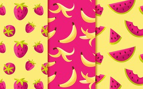 Picture background, texture, strawberry, fruit, Purple, banana, yellow, patterns, fruits