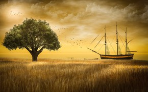 Picture wheat, field, the sky, clouds, light, landscape, sunset, birds, nature, rendering, tree, shore, ship, pack, …