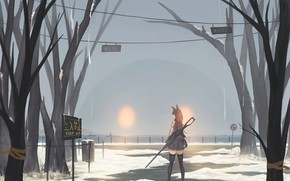 Picture girl, snow, trees, monster, glowing eyes, vinnovka