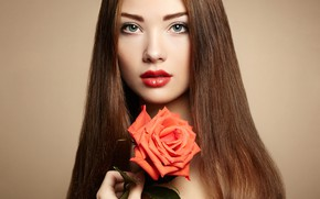 Picture flower, look, girl, background, model, rose, portrait, makeup, hairstyle, brown hair, beauty, red, Oleg Gekman