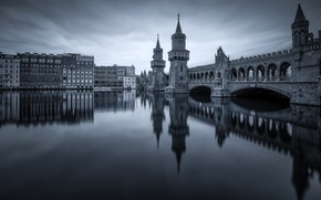 Picture bridge, the city, reflection, river, building, Germany, tower, arch, monochrome, Berlin