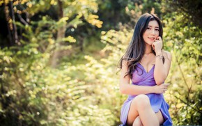 Picture look, girl, dress, Asian, bokeh, knees