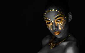 Wallpaper eyes, look, girl, decoration, face, style, portrait, treatment, makeup, mask, button, lips, black, image, mulatto, ...