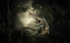 Picture forest, the dark background, rendering, collage, dinosaur, jungle, pterodactyl, photoart