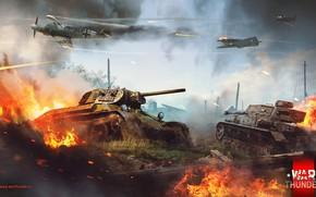 Picture fire, dirt, tank, T-34, War Thunder, The battle for Stalingrad