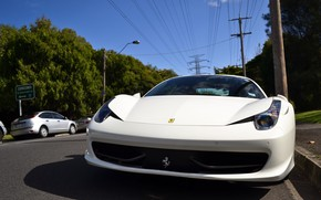 Picture White, Ferrari 458 Italia, Road, Sport Car