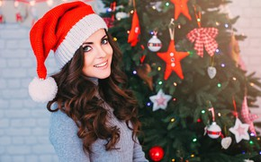 Picture girl, decoration, smile, holiday, hat, toys, makeup, dress, brunette, Christmas, hairstyle, New year, tree, beauty, …