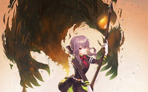 Picture girl, weapons, the demon, braid, Owari no Seraph, The last Seraphim, Hiiragi, Sinoa, Hiiragi Shinoa