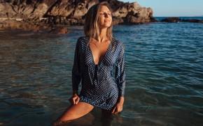 Picture water, pose, Girl, wet, dress, Valeria, Sergey Freyer