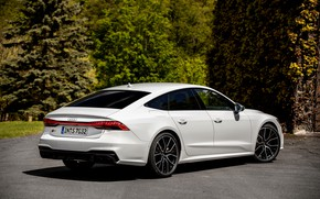 Picture white, asphalt, Audi, vegetation, Audi A7, 2019, S7 Sportback