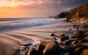 Picture landscape, sunset, nature, stones, the ocean, shore, France