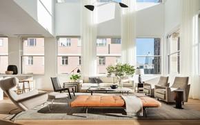 Picture interior, New York, megapolis, living room, Manhattan's Buzziest Building