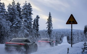 Picture road, forest, snow, sign, Porsche, 2020, Taycan, Taycan 4S