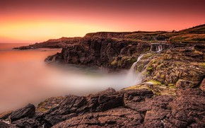 Picture landscape, nature, rock, lake, waterfall, beauty