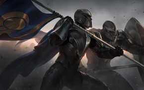 Picture people, flag, knights, Legends of Runeterra