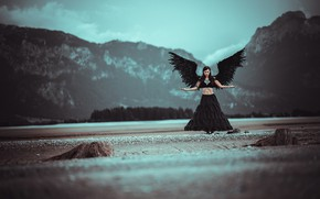 Picture girl, mountains, pose, woman, wings, angel, feathers, the demon, fallen angel, black