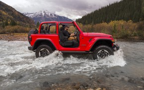 Picture red, stream, wave, 2018, Jeep, Wrangler Rubicon, forcing