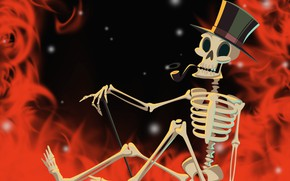 Wallpaper fire, skeleton, Halloween, helloween