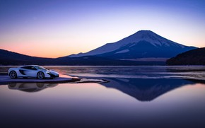 Picture sunset, lake, mountain, McLaren, the evening, supercar, 650S