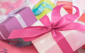 Picture pink, holiday, box, gift, tape, gifts, bows, bow, box, bows
