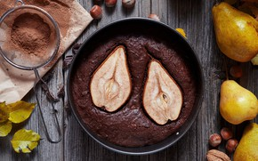 Picture leaves, Board, chocolate, pie, nuts, pear, hazelnuts, cocoa, pan, walnut, powder, strainer