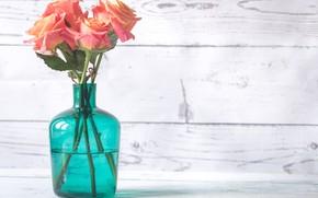 Picture table, roses, bouquet, vase