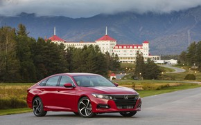 Picture mountains, red, Honda, Accord, sedan, 2018, four-door, 2.0T Sport