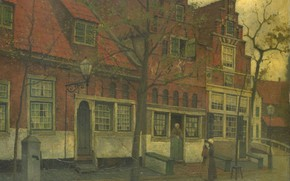 Picture oil, picture, canvas, the urban landscape, 1900, Johann Eduard Carsen, Eduard Karsen, Building on Breedstraat …