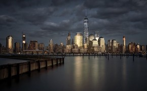 Picture sunset, Lower Manhattan, City of Gold, New - York